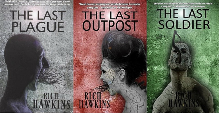 "A series of three book covers by Rich Hawkins. From Left to Right: ""The Last Plague"", ""The Last Outpost"", ""The Last Soldier"""