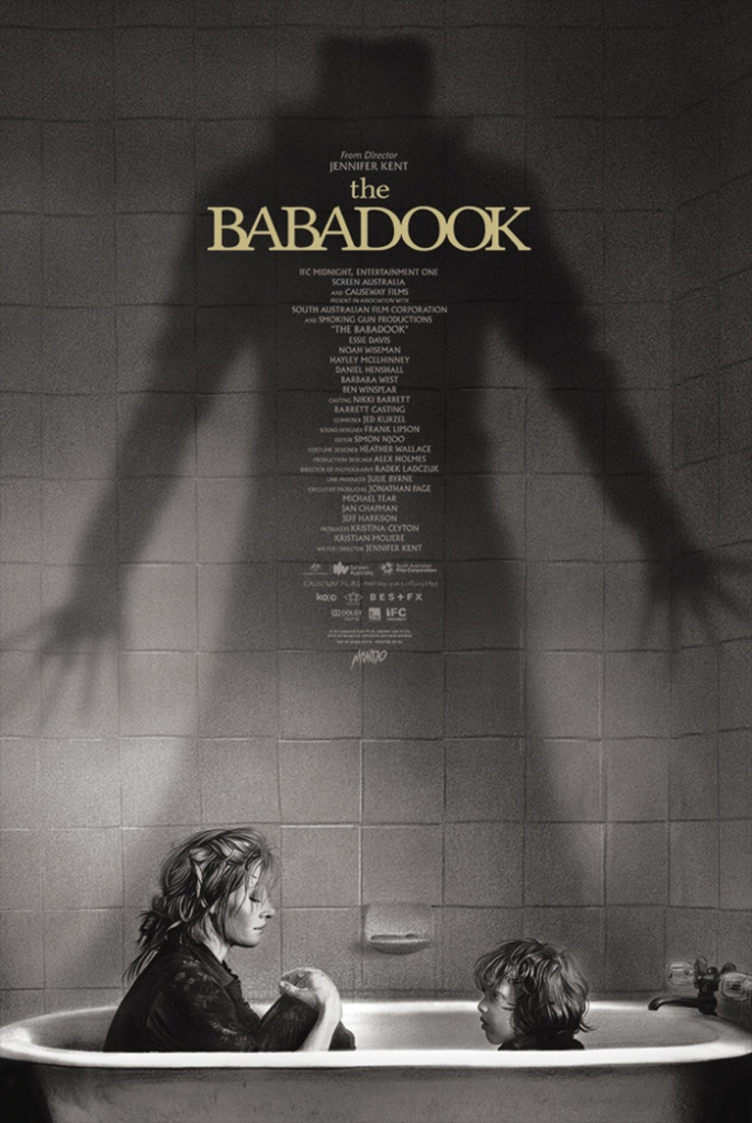 movie poster for The Babadook in black and white finish; features mother and son seated facing one another in a clawfoot white bathtub with an ominous hulking babadook shadow in the background