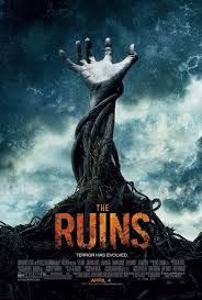 poster for the ruins with an arm made of vines and a hand reaching out from the vine-arm into an ominous stormy sky with grunge effects applied to the photo