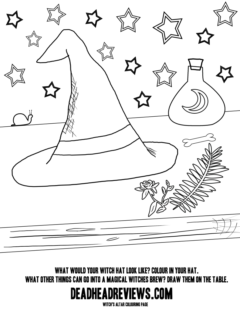 witches hat colouring page for kids
